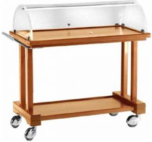 LPC 1000 Wooden service trolley with dome Wengé 2 shelves 115x55x108h