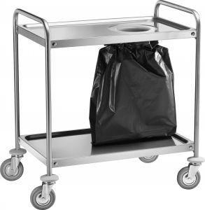 CA 1390S Chariot en acier inox avec trous pour sac-poubelle 90x60x94h