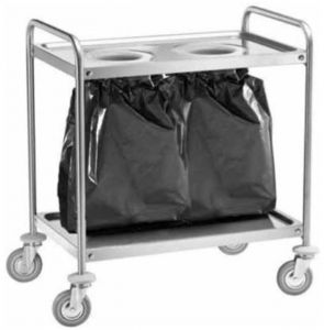 CA1391S2 Stainless steel trolley 2 shelves with 2 waste bins 110x60x94h