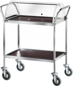 CA 1154W Service trolley Wengé with plexiglass cover