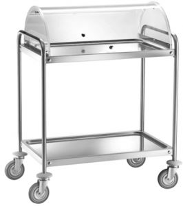 TCA 1390C Stainless steel trolley with plx dome 90x60x109h