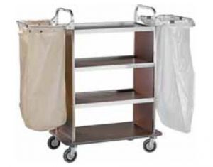 TCA 1510W Laundry cleaning multipurpose cart 2 Folding sack-holders Wengé