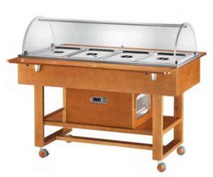 ELR2827BT Chariot et présentoir réfrigéré (-5°+5°C) 4x1/1GN Convercle en plexiglass