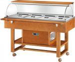 TELR 2826BT Carrello espositore legno refrigerato (-5°+5°C) 4 1/1GN cupola/pianetto