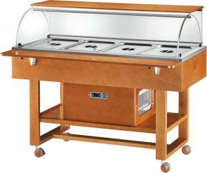 ELR2826BT Chariot Présentoir réfrigéré (-5°+5°C) 4x1/1GN cloche et etagere sup