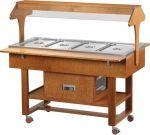 TELR 2825BT Espositore legno refrigerato su ruote (-5°+5°C) 4x1/1GN tettoia