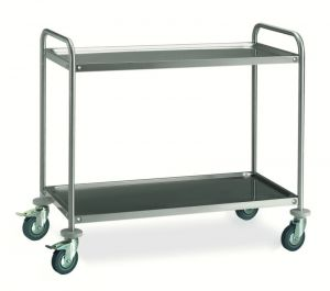 MF14-1052 Professional Serving trolley in stainless steel 2 shelves 100x50 cm ECO series