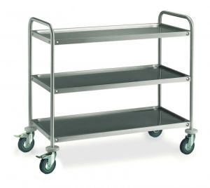 MF14-1053 Professional Serving trolley in stainless steel 3 shelves 100x50 cm ECO series