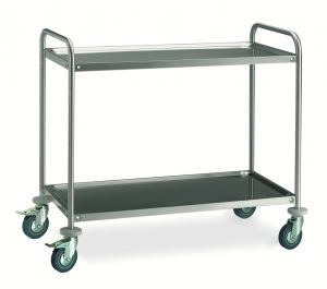 MF14-1062 Professional Serving trolley in stainless steel 2 shelves 100x60 cm ECO series