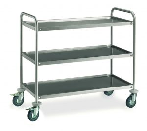MF14-1063 Professional Serving trolley in stainless steel 3 shelves 100x60 cm ECO series