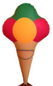 GOTX001 Cornet de crème glacée gonflable 125 cm