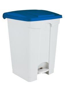 T101455 White Blue Plastic pedal bin 45 liters 3 pcs (Pack of 3 pieces)