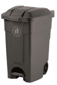 T102031  Mobile plastic pedal bin Grey 70 liters (multiple 3 pcs)
