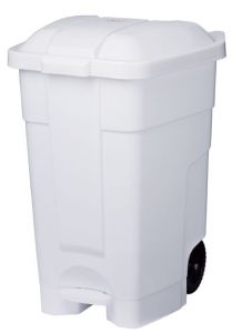 T102032 Mobile plastic pedal bin White 70 liters (Pack of 3 pieces)
