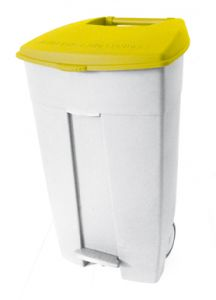 T102036 Mobile plastic pedal bin White Yellow 120 liters (Pack of 3 pieces)