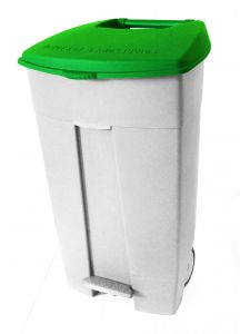 T102038 Mobile plastic pedal bin White Green 120 liters (Pack of 3 pieces)