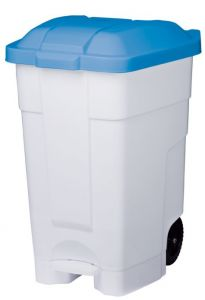 T102045 Mobile plastic pedal bin White Blue 70 liters (Pack of 3 pieces)