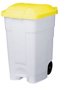 T102046 Mobile plastic pedal bin White Yellow 70 liters (multiple 3 pcs)