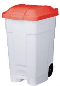 T102047 Contenitore mobile a pedale plastica bianco-rosso 70 litri (multipli 3 pz)