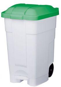 T102048 Contenitore mobile a pedale plastica bianco-verde 70 litri (multipli 3 pz)