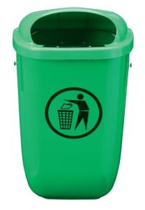 T102050 Green Polyethylene Litter bin 50 liters for outdoor areas
