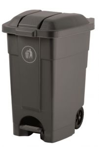 T102531 Mobile plastic pedal bin Grey 70 liters