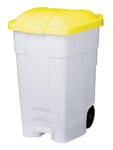 T102546 Contenitore mobile a pedale plastica bianco-giallo 70 litri