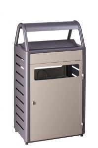 T103015 Grey steel Ashbin for outdoor areas 8+50 liter