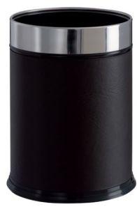 T103050 Corbeille à papier cylindrique Métal recouvert de faux cuir noire 13 litres