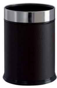 T103050 Cylindrical paper bin Black faux leather 13 liters