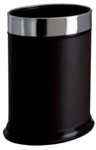 T103051 Oval paper bin black faux leather 13 liters
