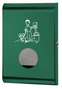 T103071 Distributore di sacchetti per deiezioni canine acciaio verde
