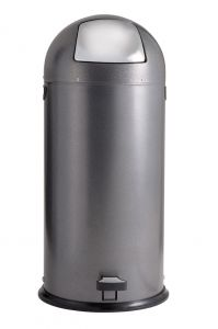 T106024 Dapple Silver Steel Push Pedal bin 52 liters