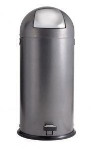 T106024 Gettacarte metallo silver punteggiato sportello inox a pedale 52 litri
