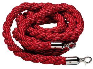 T106321 Corde bordeaux rouge 2 anneaux de fixation chromés pour poteau 1,5 mètre
