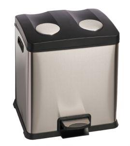 T106503 Recycling pedal bin DOUBLE 2x12 liters