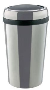 T109777 Swing paper bin Cylindrical stainless steel bin with ABS lid 50 liters