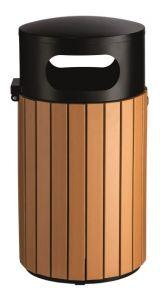 T110506 Gettacarte cilindrico acciaio nero/polistirene da esterno 40 litri