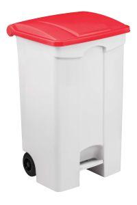 T115097 Contenitore mobile a pedale in plastica bianco coperchio rosso 90 litri (confezione da 3 pezzi)