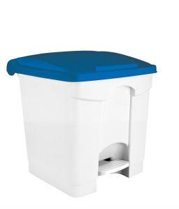T115305 Pattumiera a pedale in plastica Bianca coperchio Blu 30 litri (multipli 3 pz)