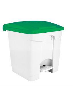 T115308 Pattumiera a pedale in plastica Bianca coperchio Verde 30 litri (confezione da 3 pezzi)