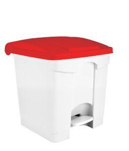T115357 Pattumiera a pedale in plastica Bianca coperchio Rosso 30 litri