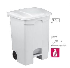 T115570 Contenitore mobile a pedale in plastica BIANCO 70 litri
