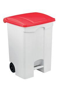 T115577 Contenitore mobile a pedale in plastica bianco coperchio rosso 70 litri