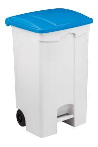 T102532 Mobile plastic pedal bin White 70 liters