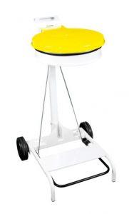 T601044 Chariot porte sac poubelle acier blanc et couvercle jaune