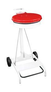 T601047 Chariot porte sac poubelle acier blanc et couvercle rouge