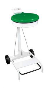 T601048 Portasacco mobile acciaio bianco con coperchio VERDE e pedale