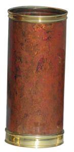 T700103 Porte-parapluie cylindrique en cuivre brûlé avec bords en laiton