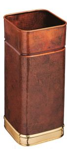 T700107 Square copper umbrella stand with brass rims